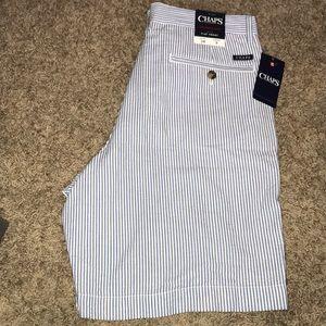 New Men's Chaps Seersucker Flat Front Shorts 34